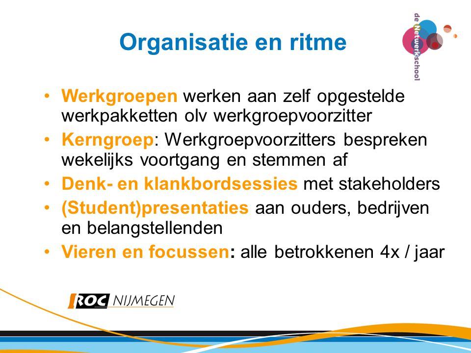 Organisatie en ritme Werkgroepen werken aan zelf opgestelde werkpakketten olv werkgroepvoorzitter.