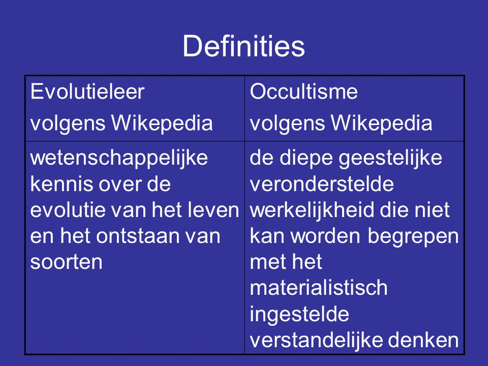 Definities Evolutieleer volgens Wikepedia Occultisme