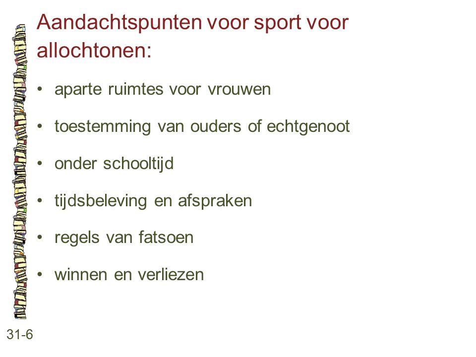 Aandachtspunten voor sport voor allochtonen: