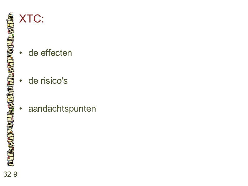 XTC: • de effecten • de risico s • aandachtspunten 32-9