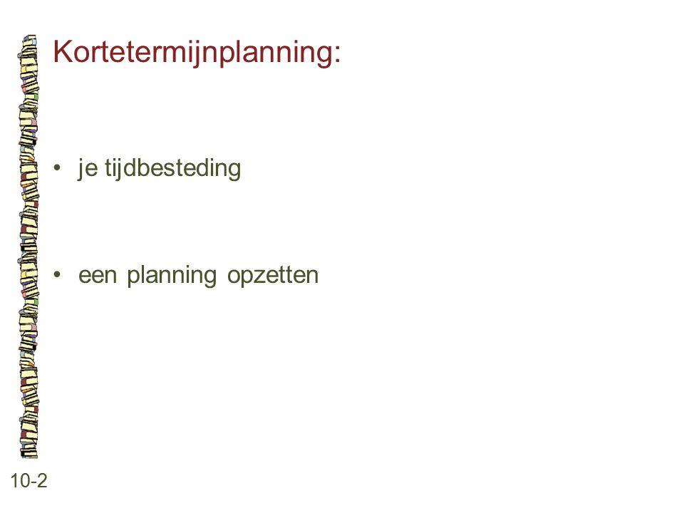 Kortetermijnplanning: