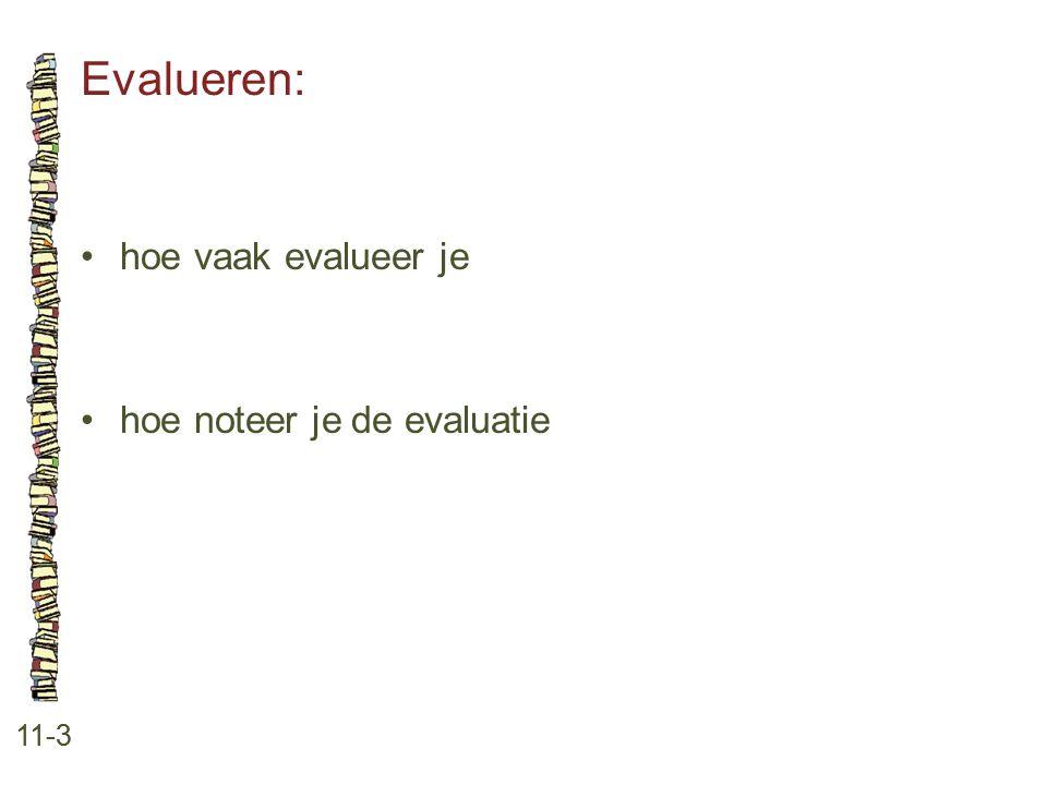 Evalueren: • hoe vaak evalueer je • hoe noteer je de evaluatie 11-3
