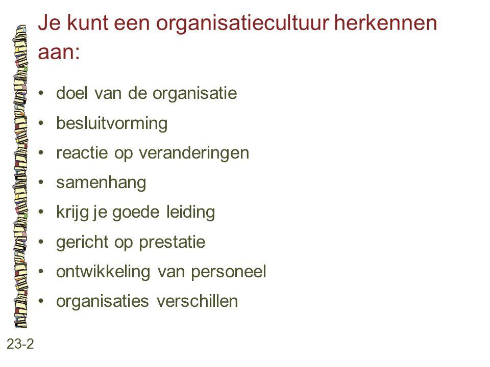 Je kunt een organisatiecultuur herkennen aan: