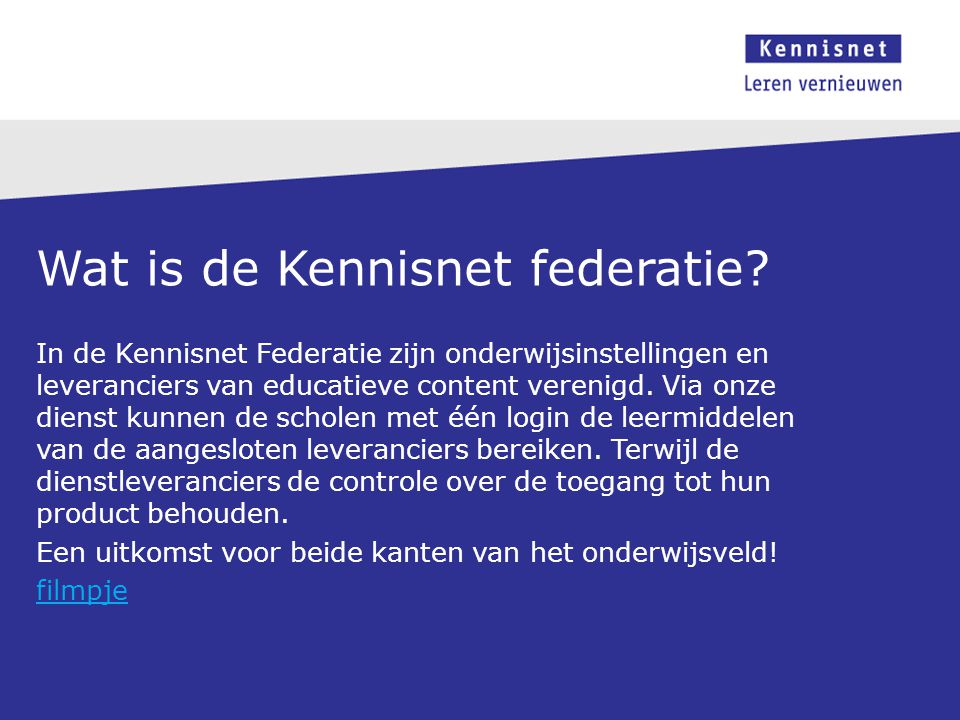 Wat is de Kennisnet federatie