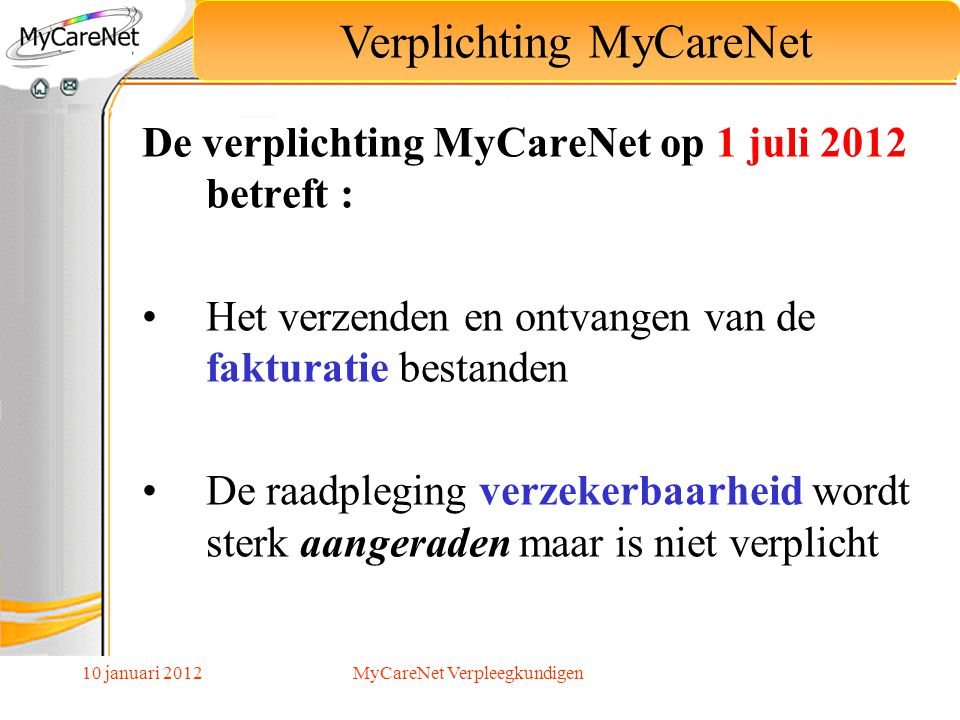 Verplichting MyCareNet