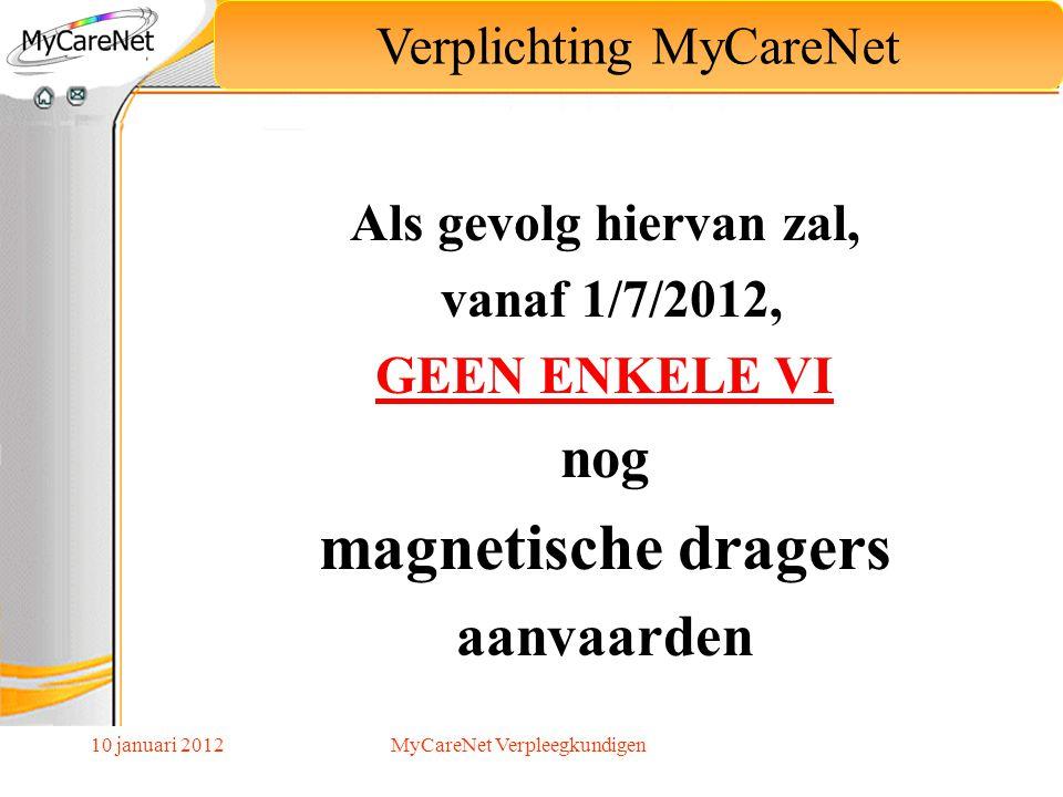 magnetische dragers nog aanvaarden Verplichting MyCareNet