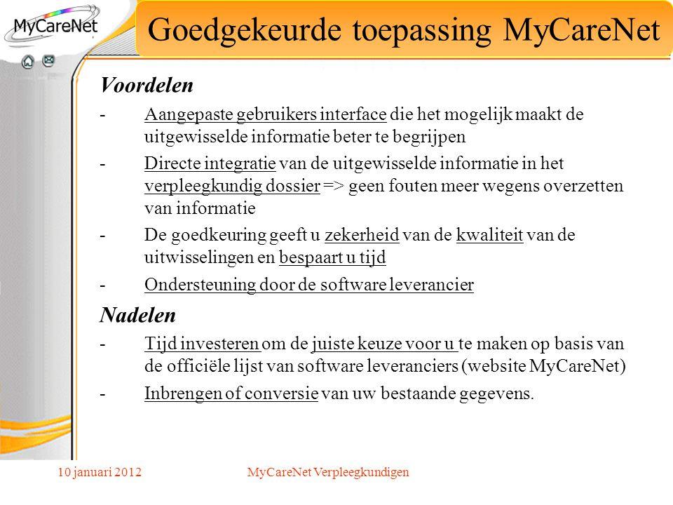 Goedgekeurde toepassing MyCareNet