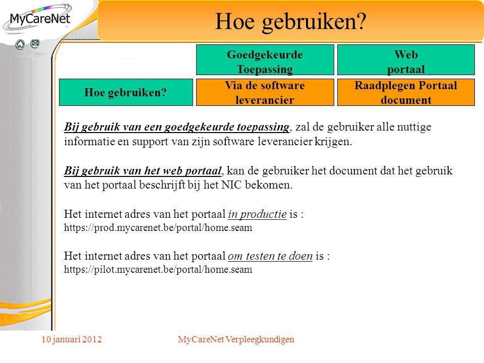 Via de software leverancier Raadplegen Portaal document
