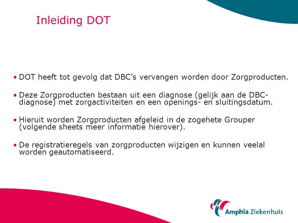Inleiding DOT DOT heeft tot gevolg dat DBC's vervangen worden door Zorgproducten.