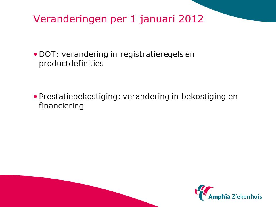 Veranderingen per 1 januari 2012