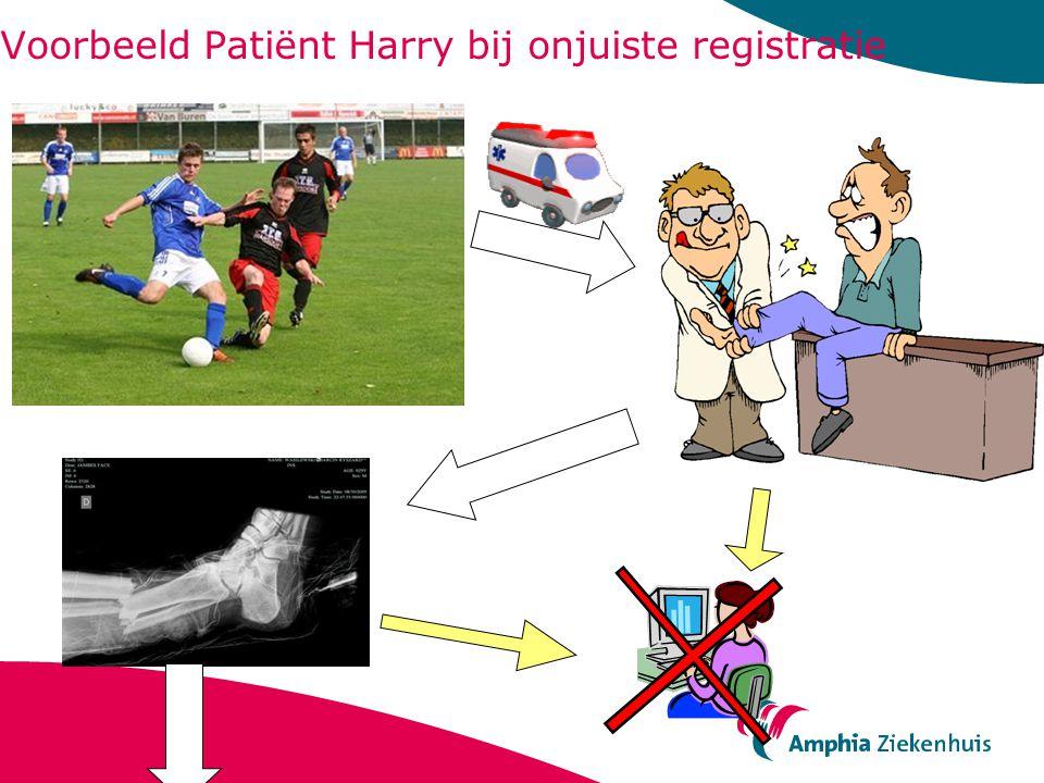Voorbeeld Patiënt Harry bij onjuiste registratie