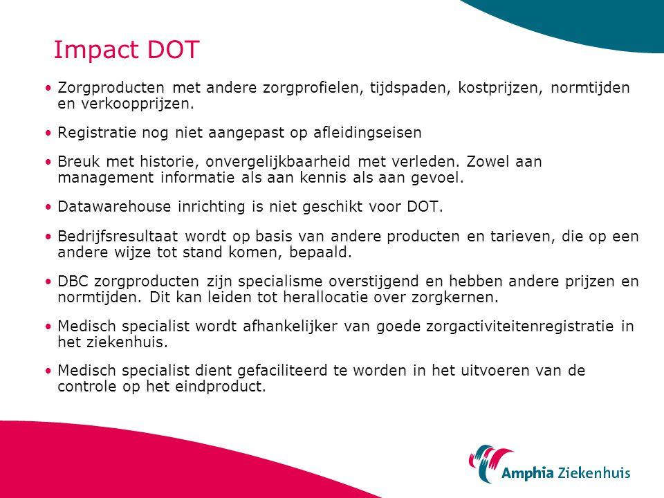Impact DOT Zorgproducten met andere zorgprofielen, tijdspaden, kostprijzen, normtijden en verkoopprijzen.