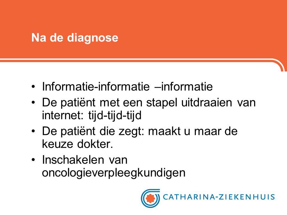 Na de diagnose Informatie-informatie –informatie. De patiënt met een stapel uitdraaien van internet: tijd-tijd-tijd.