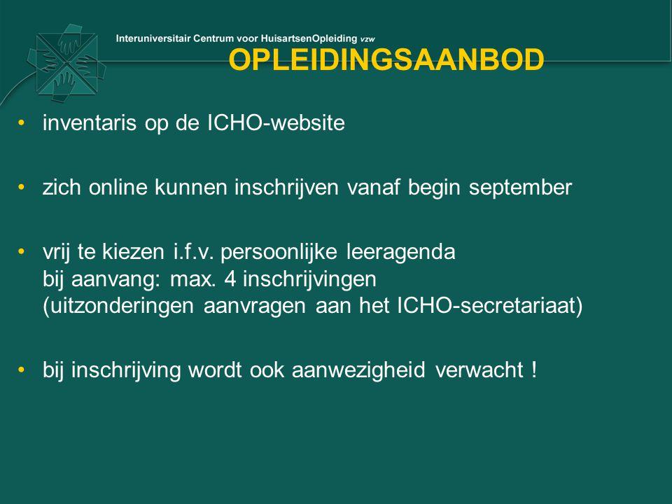 OPLEIDINGSAANBOD inventaris op de ICHO-website