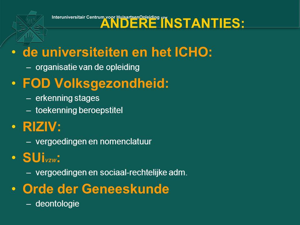 de universiteiten en het ICHO: FOD Volksgezondheid: