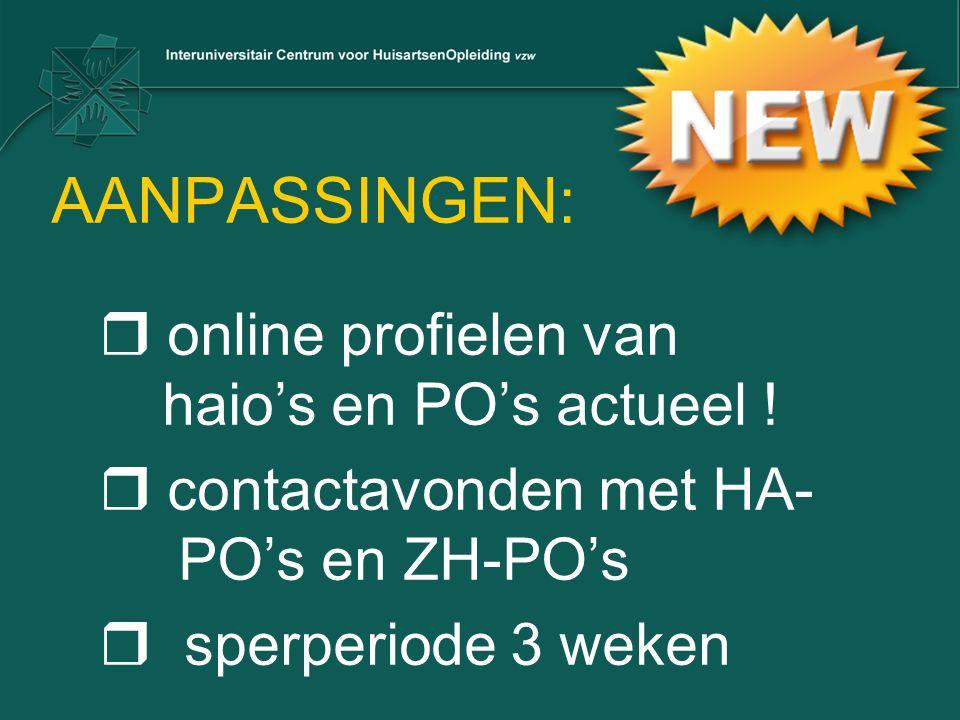 AANPASSINGEN: online profielen van haio's en PO's actueel !