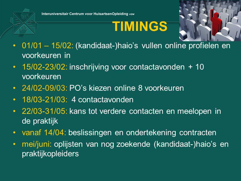 TIMINGS 01/01 – 15/02: (kandidaat-)haio's vullen online profielen en voorkeuren in. 15/02-23/02: inschrijving voor contactavonden + 10 voorkeuren.