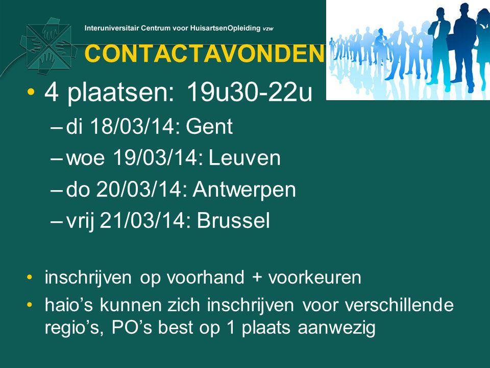 4 plaatsen: 19u30-22u CONTACTAVONDEN di 18/03/14: Gent