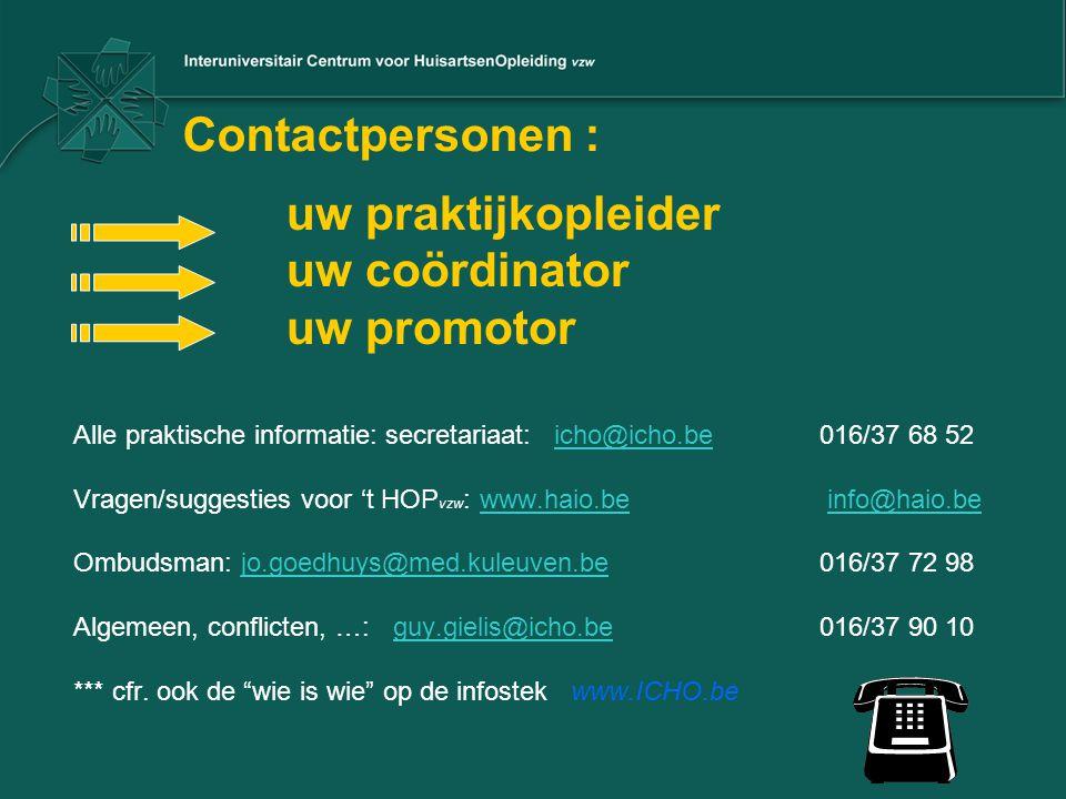 Contactpersonen : uw coördinator uw promotor uw praktijkopleider