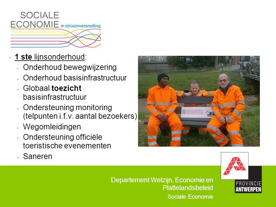 1 ste lijnsonderhoud: Onderhoud bewegwijzering. Onderhoud basisinfrastructuur. Globaal toezicht basisinfrastructuur.