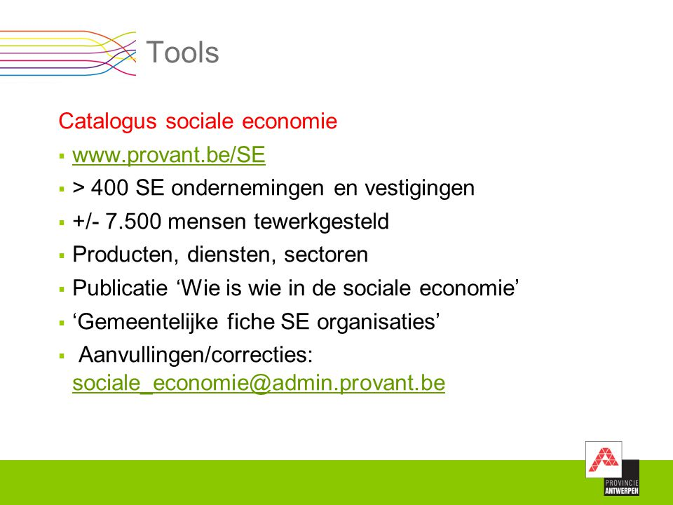 Tools Catalogus sociale economie www.provant.be/SE