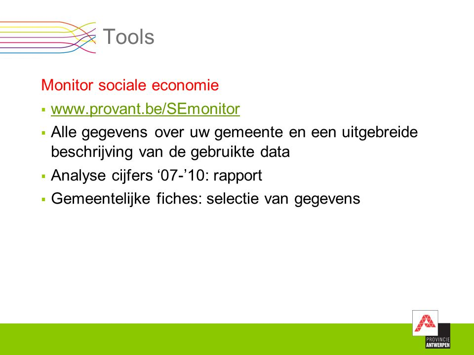 Tools Monitor sociale economie www.provant.be/SEmonitor