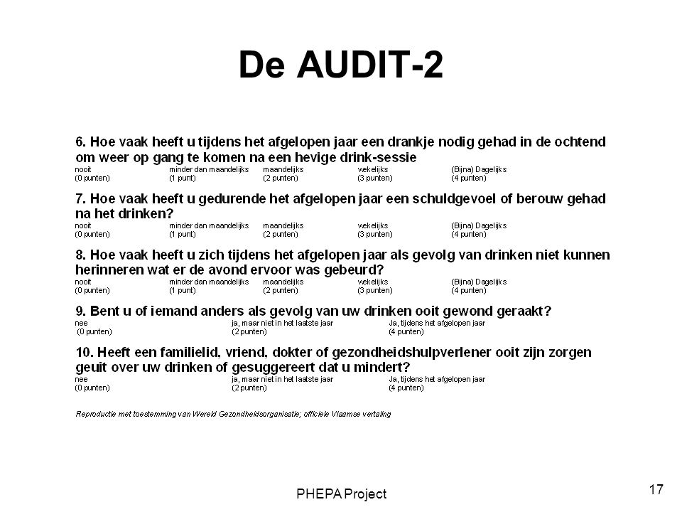 De AUDIT-2 PHEPA Project