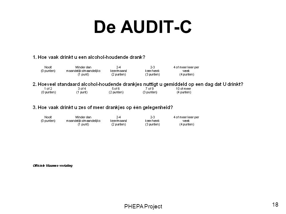 De AUDIT-C PHEPA Project