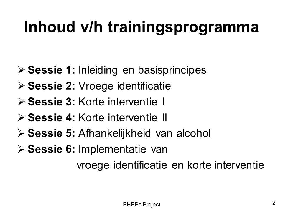 Inhoud v/h trainingsprogramma