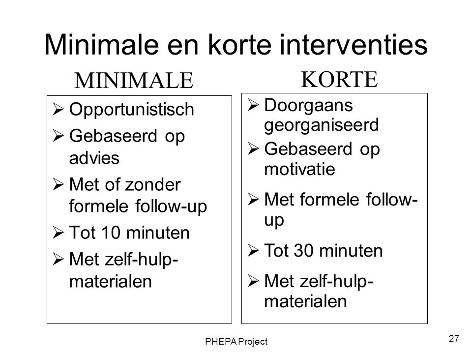 Minimale en korte interventies