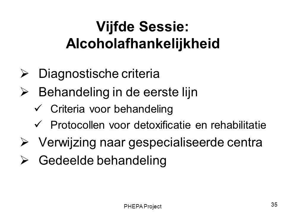 Vijfde Sessie: Alcoholafhankelijkheid