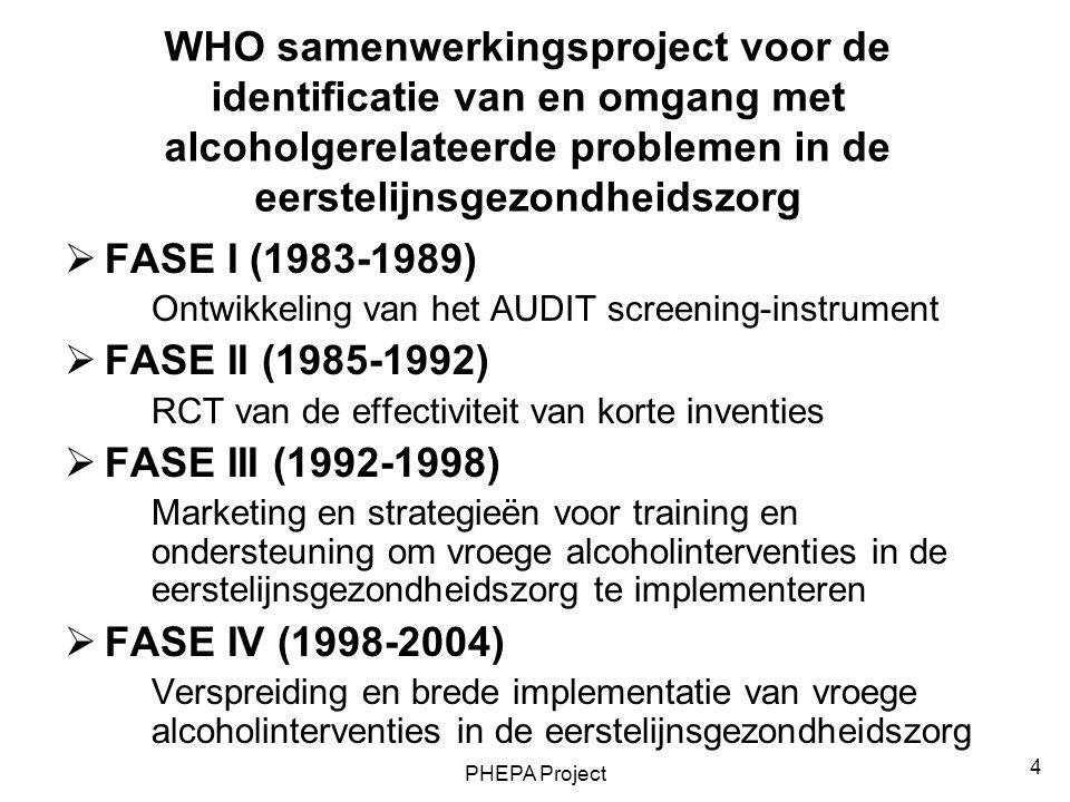 WHO samenwerkingsproject voor de identificatie van en omgang met alcoholgerelateerde problemen in de eerstelijnsgezondheidszorg