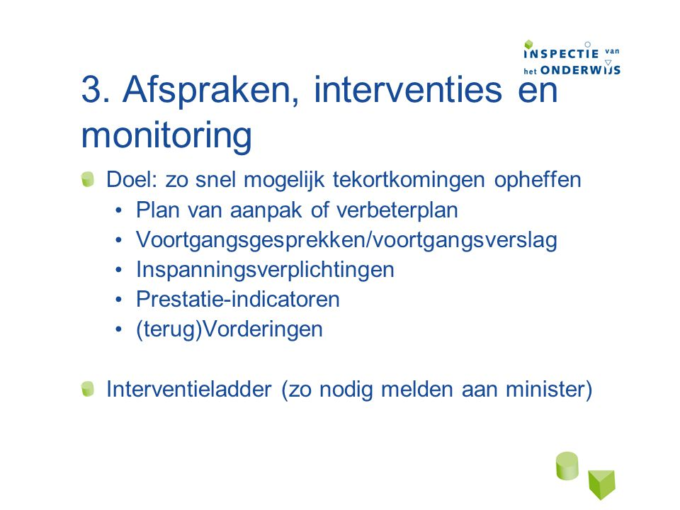 3. Afspraken, interventies en monitoring