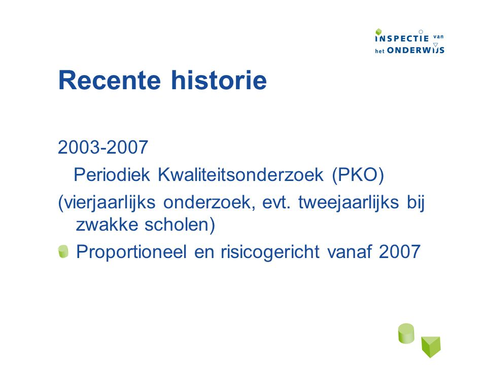 Recente historie 2003-2007 Periodiek Kwaliteitsonderzoek (PKO)