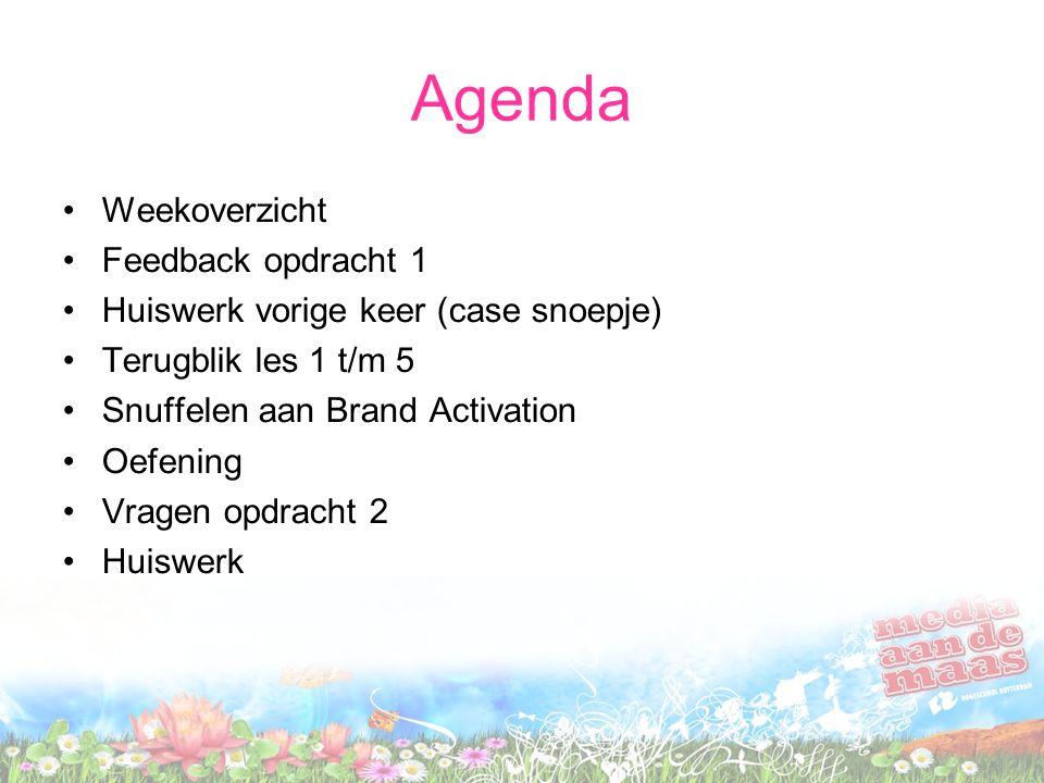 Agenda Weekoverzicht Feedback opdracht 1