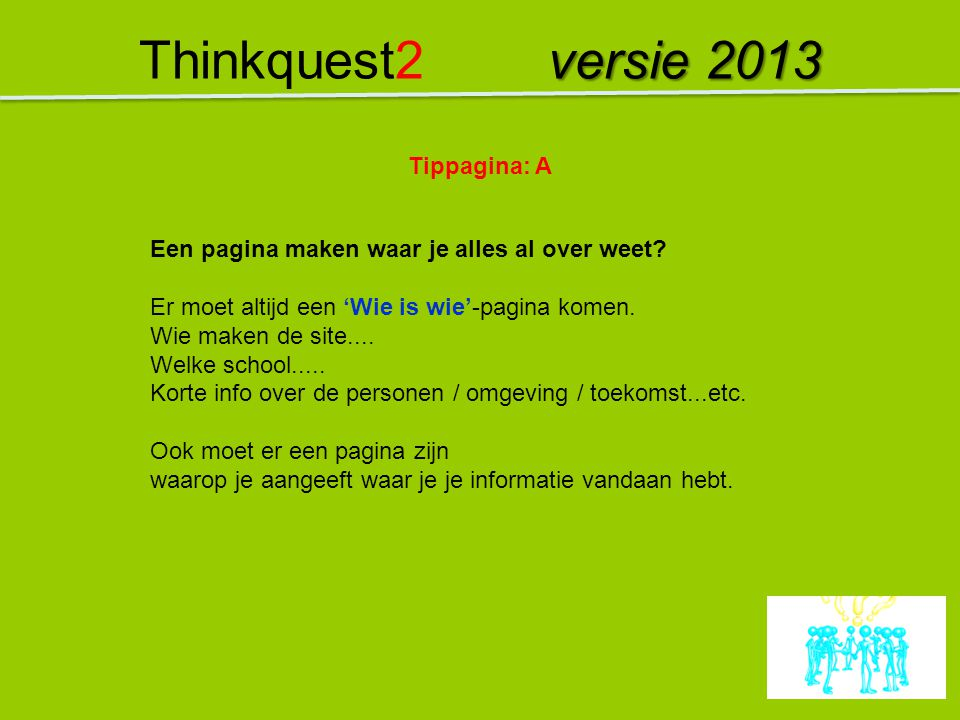 Thinkquest2 versie 2013 Tippagina: A