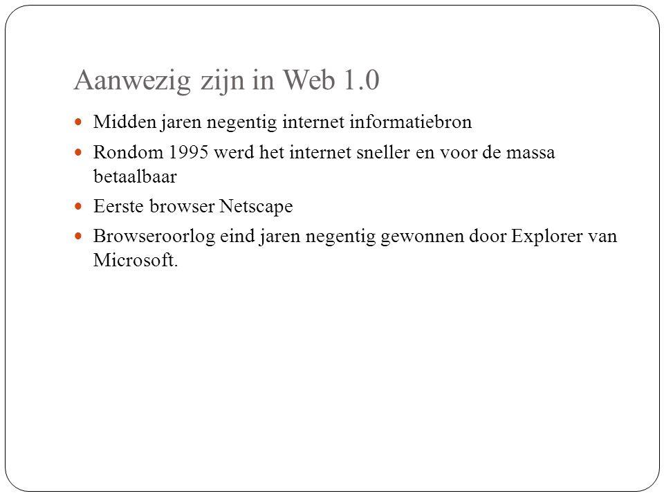Aanwezig zijn in Web 1.0 Midden jaren negentig internet informatiebron