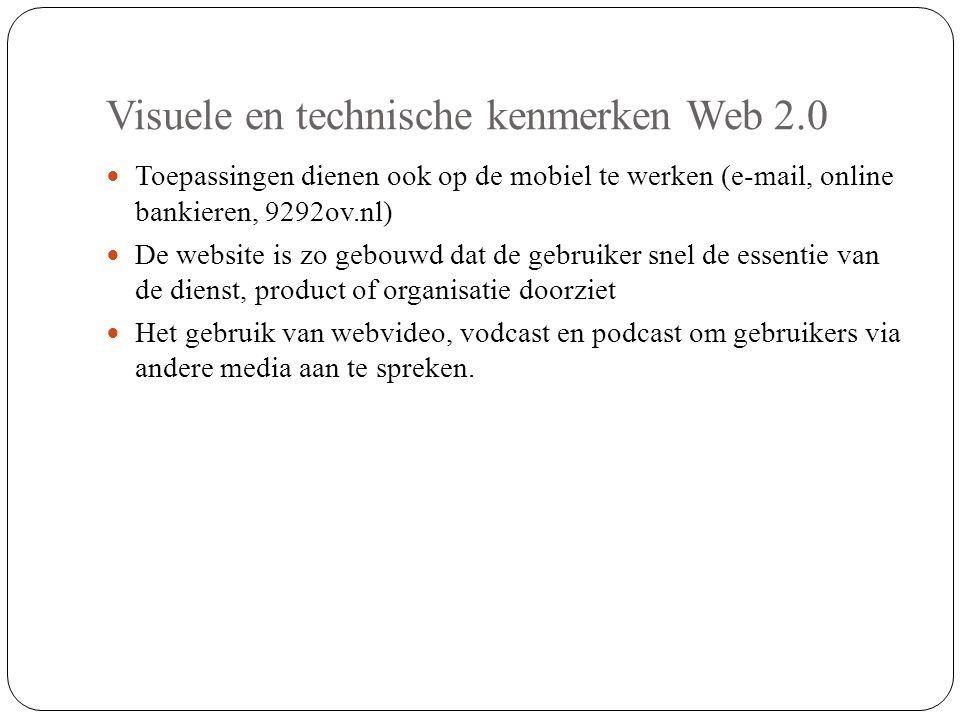 Visuele en technische kenmerken Web 2.0