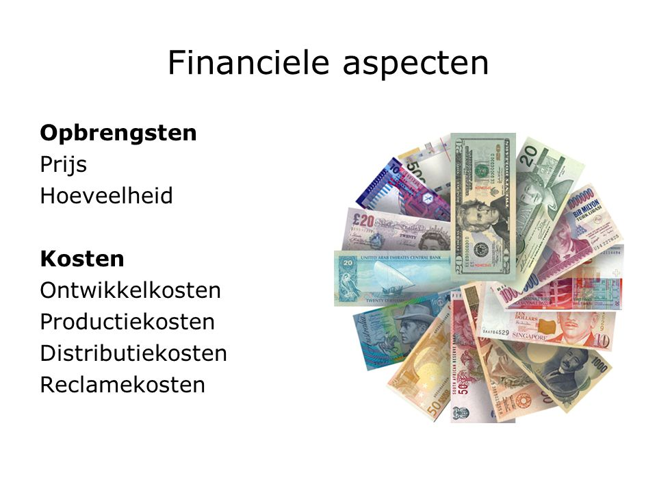 Financiele aspecten Opbrengsten Prijs Hoeveelheid Kosten