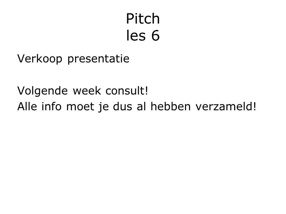 Pitch les 6 Verkoop presentatie Volgende week consult!