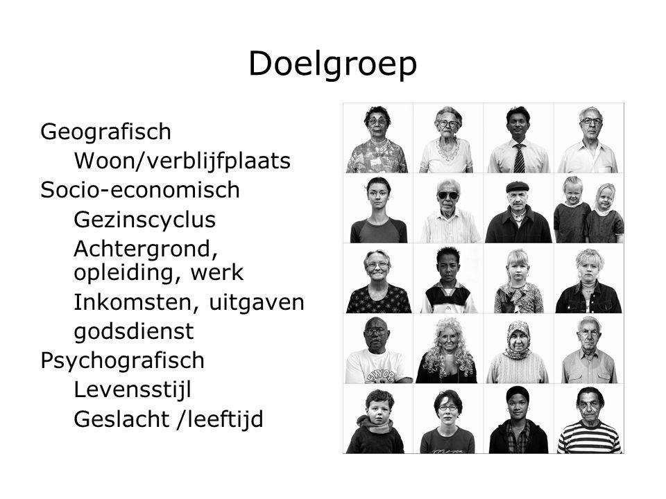 Doelgroep Geografisch Woon/verblijfplaats Socio-economisch