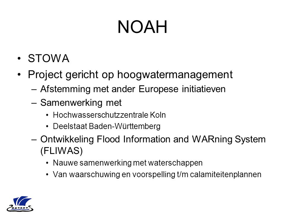 NOAH STOWA Project gericht op hoogwatermanagement