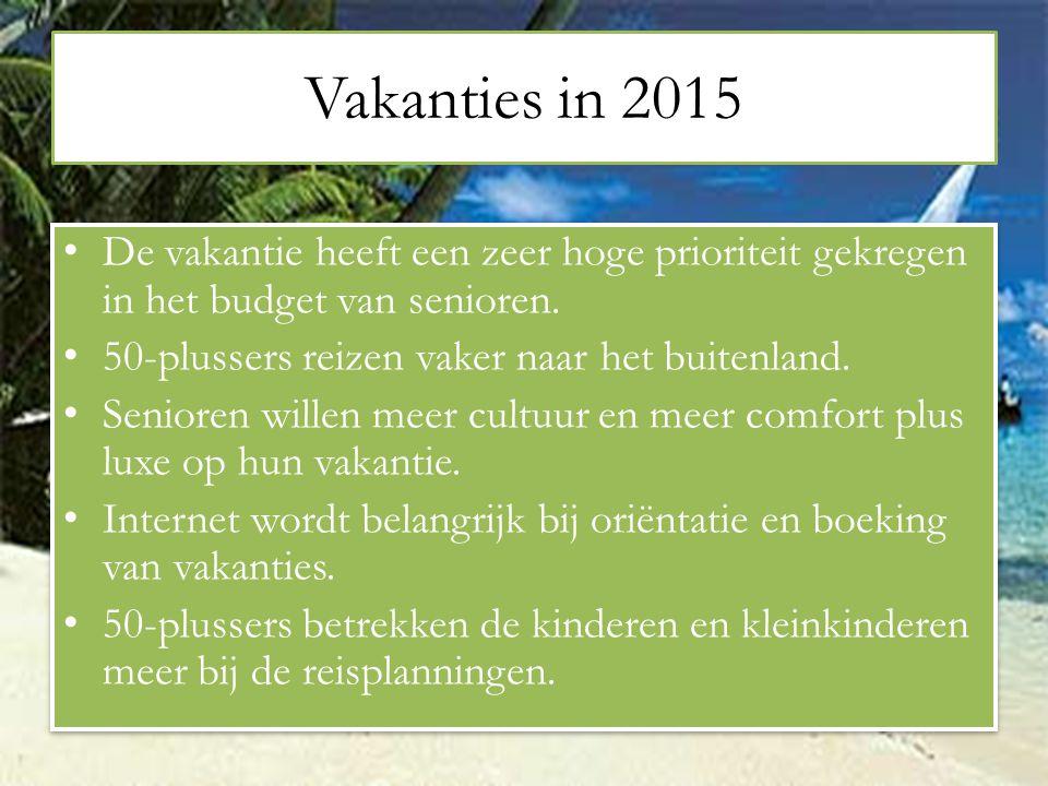 Vakanties in 2015 De vakantie heeft een zeer hoge prioriteit gekregen in het budget van senioren. 50-plussers reizen vaker naar het buitenland.