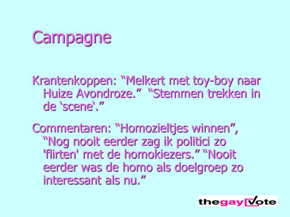 Campagne Krantenkoppen: Melkert met toy-boy naar Huize Avondroze. Stemmen trekken in de 'scene'.