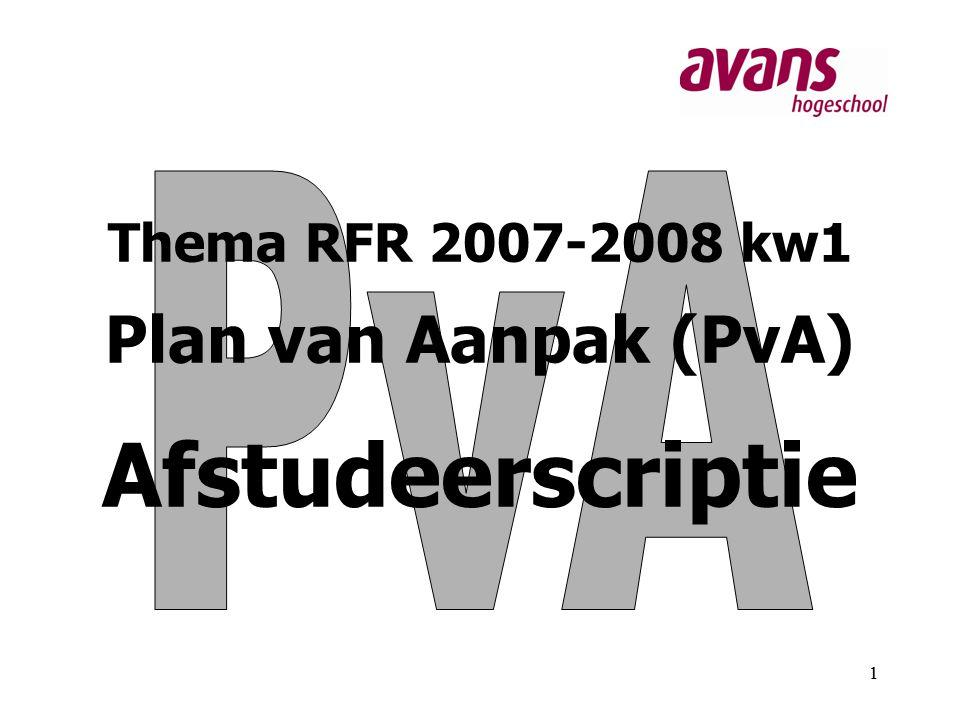Thema RFR 2007-2008 kw1 Plan van Aanpak (PvA) Afstudeerscriptie