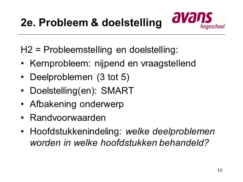 2e. Probleem & doelstelling