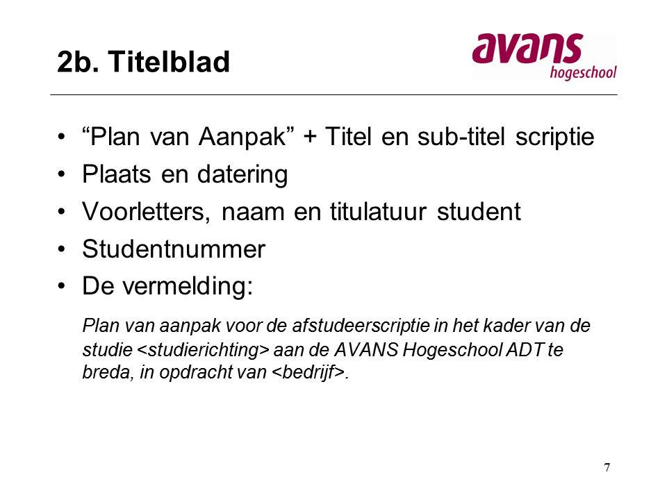 2b. Titelblad Plan van Aanpak + Titel en sub-titel scriptie
