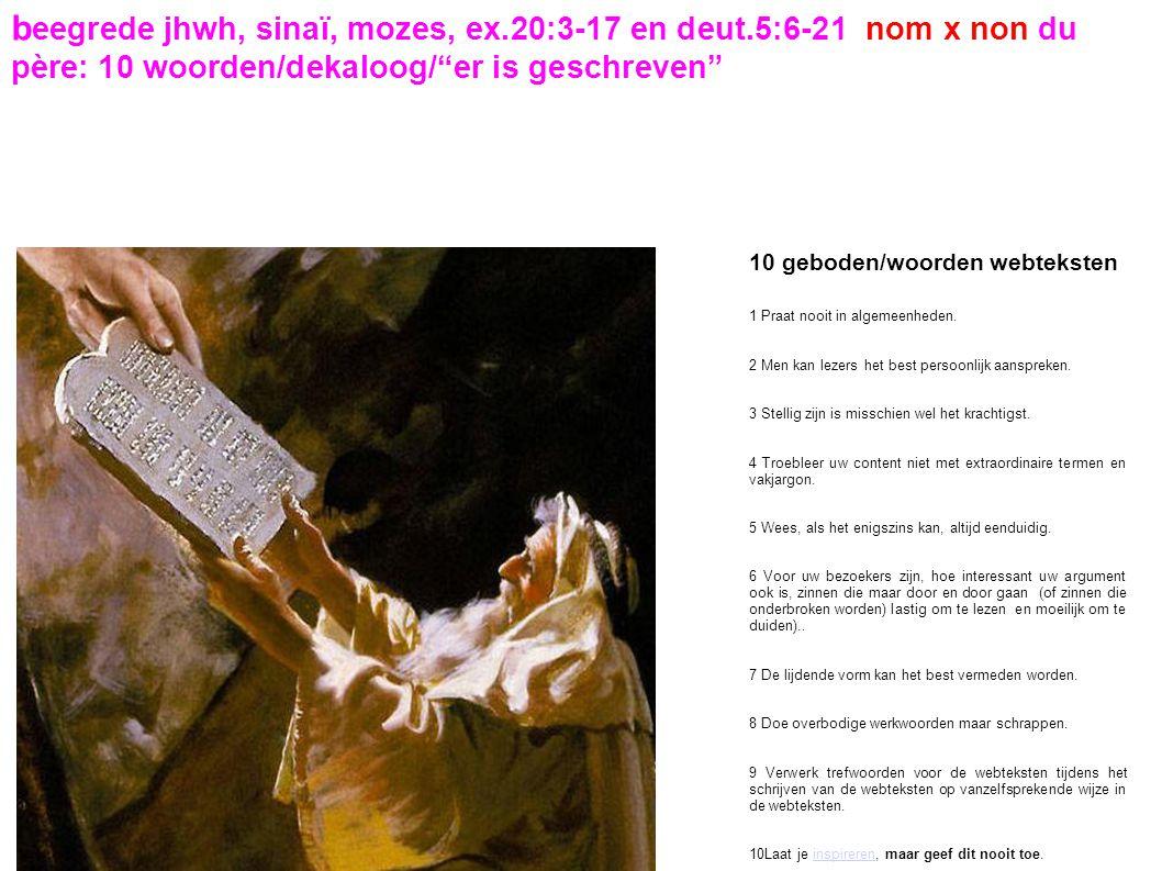 beegrede jhwh, sinaï, mozes, ex. 20:3-17 en deut