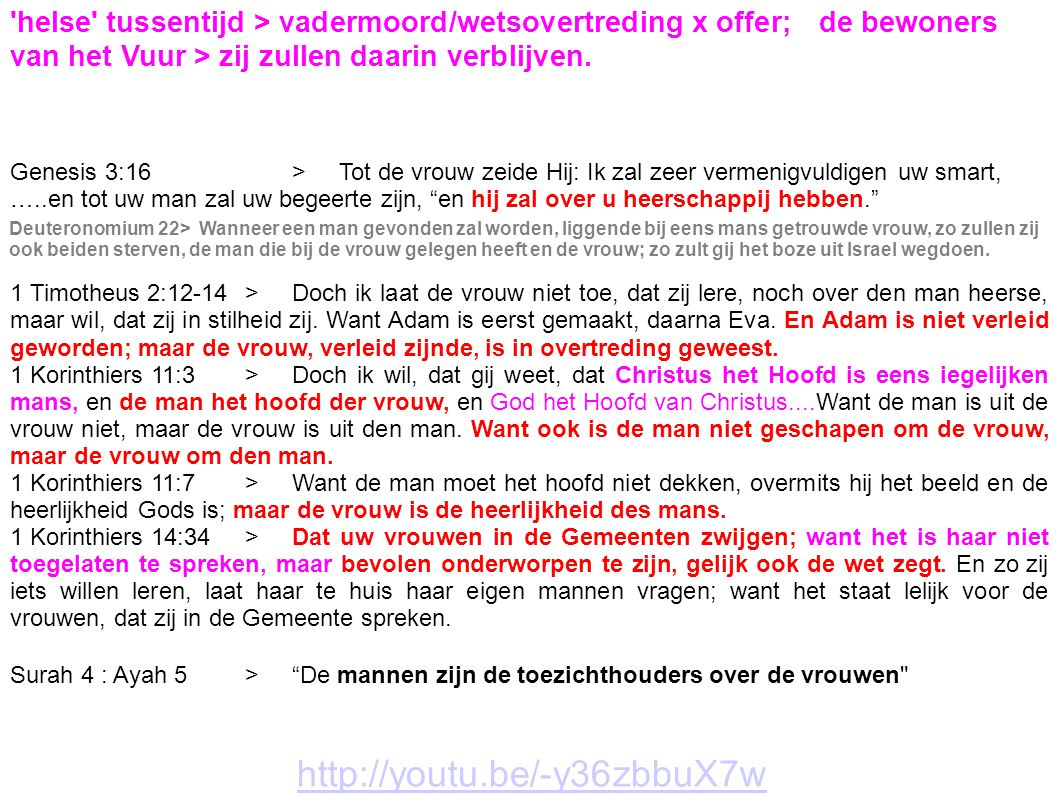 helse tussentijd > vadermoord/wetsovertreding x offer;