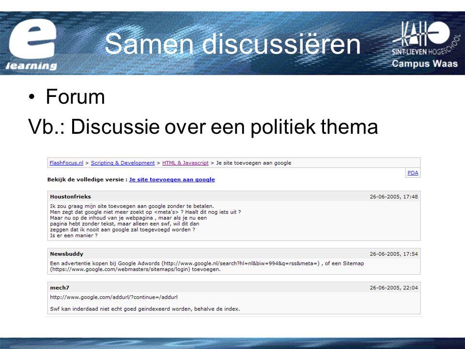 Samen discussiëren Forum Vb.: Discussie over een politiek thema